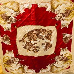 Nicole De Beauvoir 100% Silk Cat and Kitten Scarf